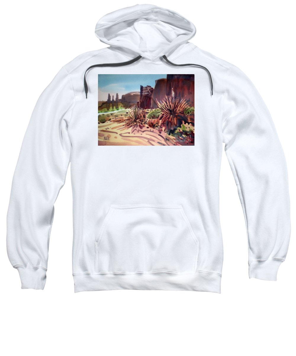 Monument Valley Sweatshirt featuring the painting Across Monument Valley by Donald Maier