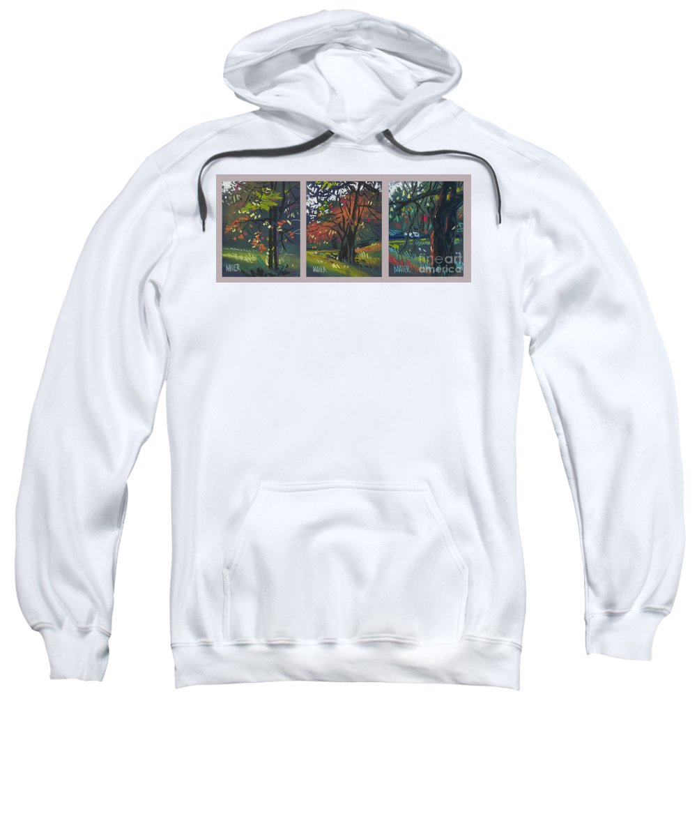 Autumn Foliage Sweatshirt featuring the painting Across The Creek Triplet by Donald Maier
