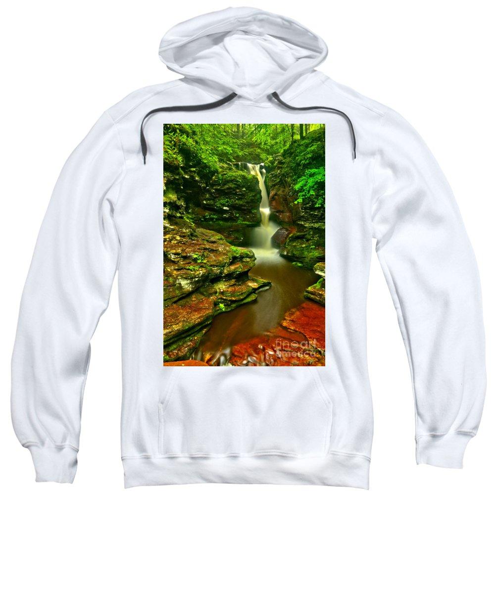 Adams Falls Sweatshirt featuring the photograph Adams Falls Portrait by Adam Jewell