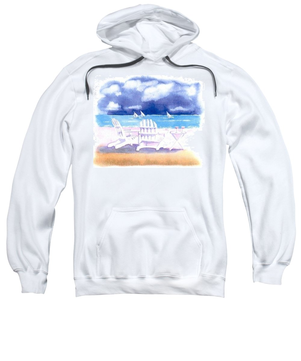 Cape Cod Sweatshirt featuring the painting Adirondack Chairs by Joseph Gallant