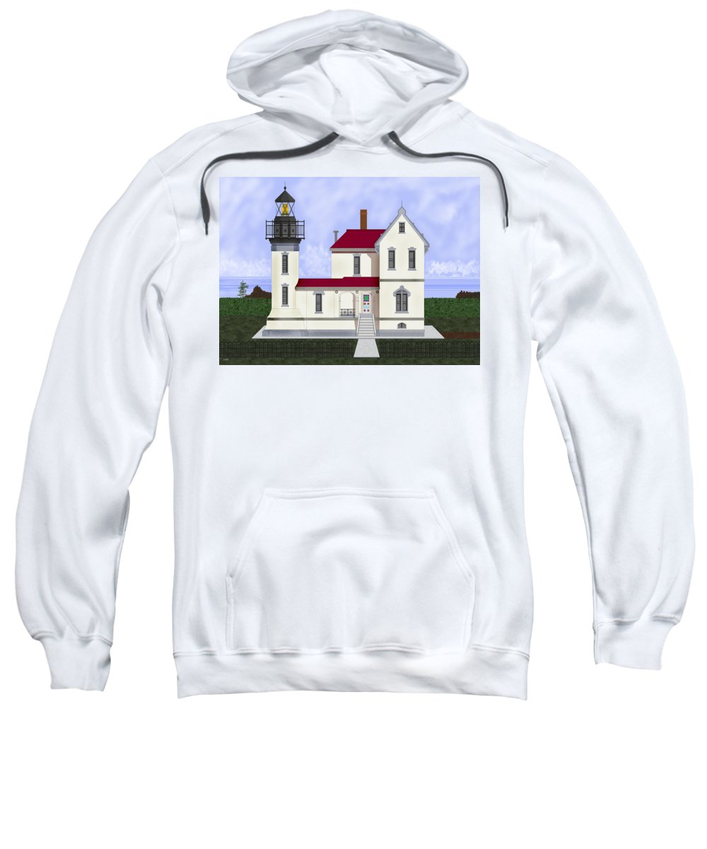 Admiralty Head Sweatshirt featuring the painting Admiralty Head Light Station Circa 1920 by Anne Norskog