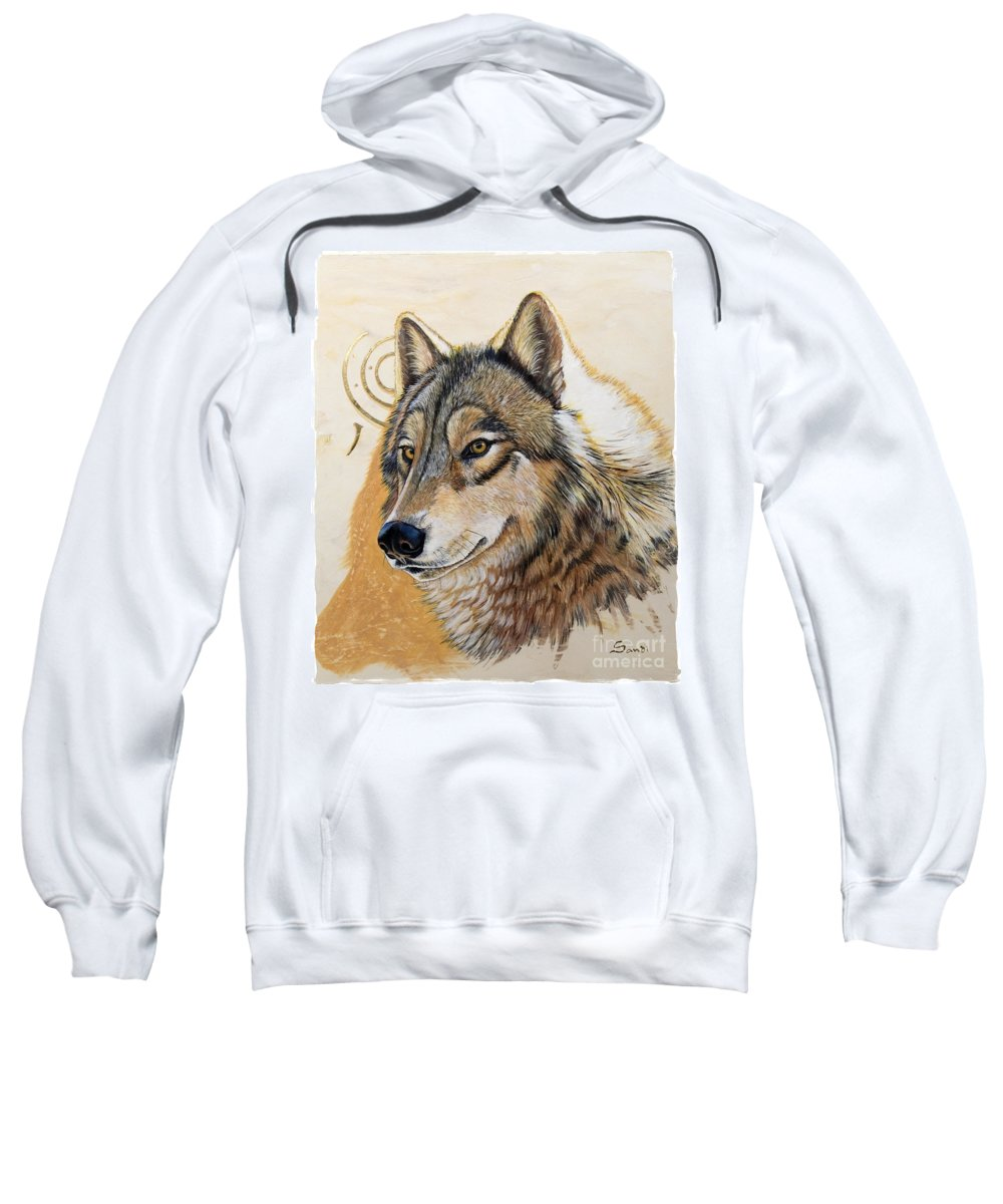 Acrylics Sweatshirt featuring the painting Adobe Gold by Sandi Baker