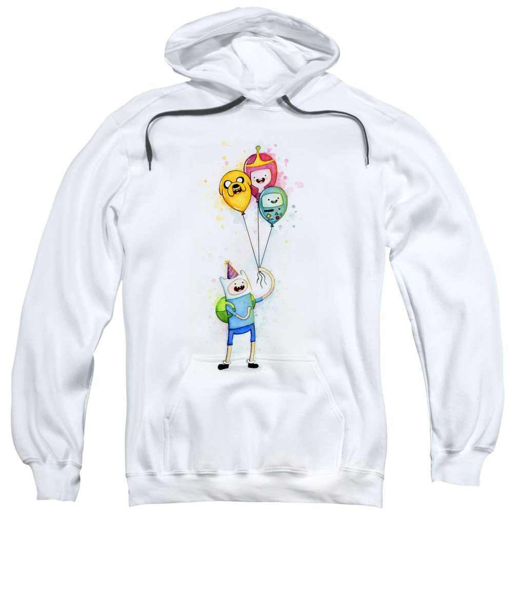 Jake Sweatshirt featuring the painting Adventure Time Finn With Birthday Balloons Jake Princess Bubblegum Bmo by Olga Shvartsur