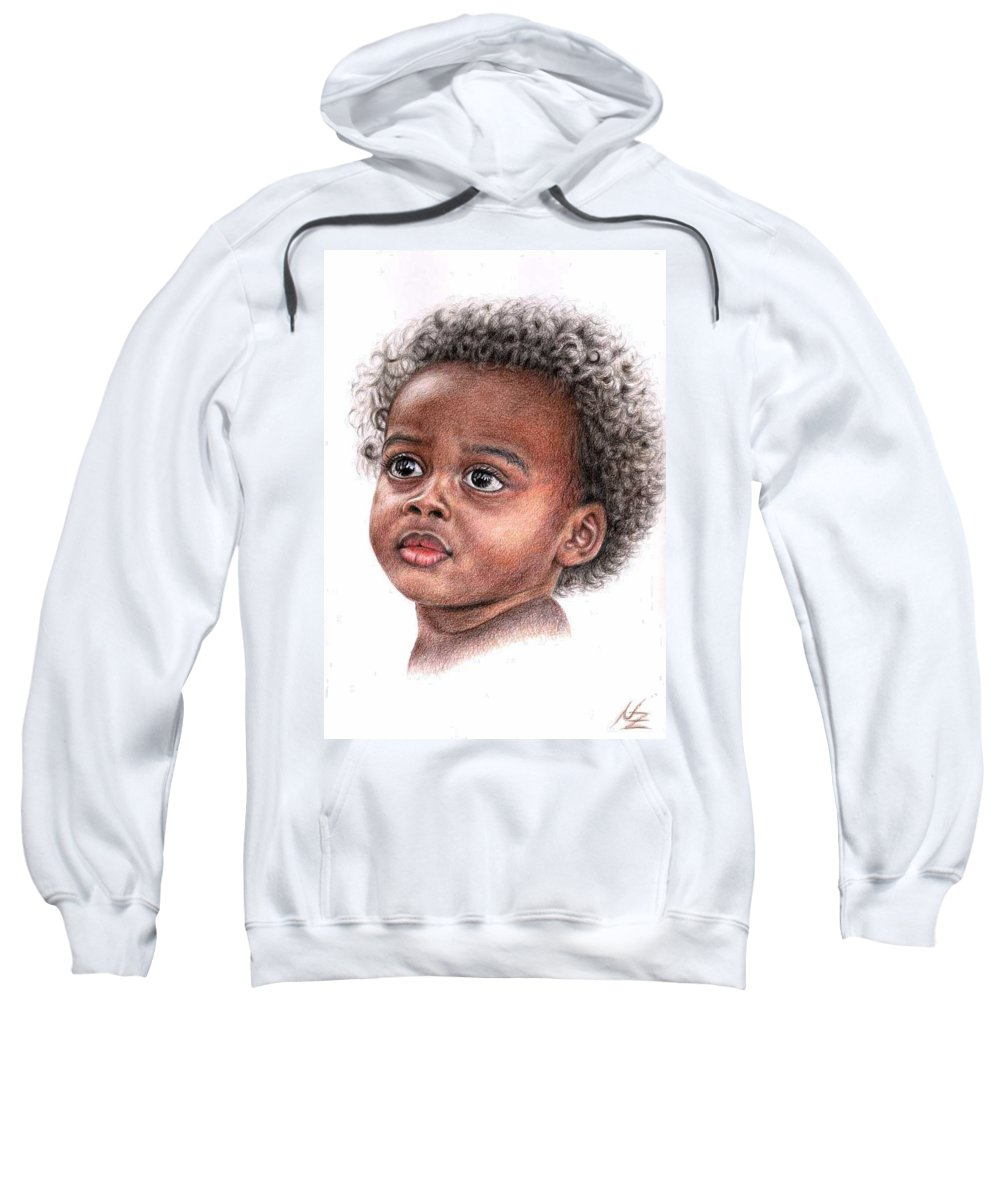 Child Sweatshirt featuring the drawing African Child by Nicole Zeug