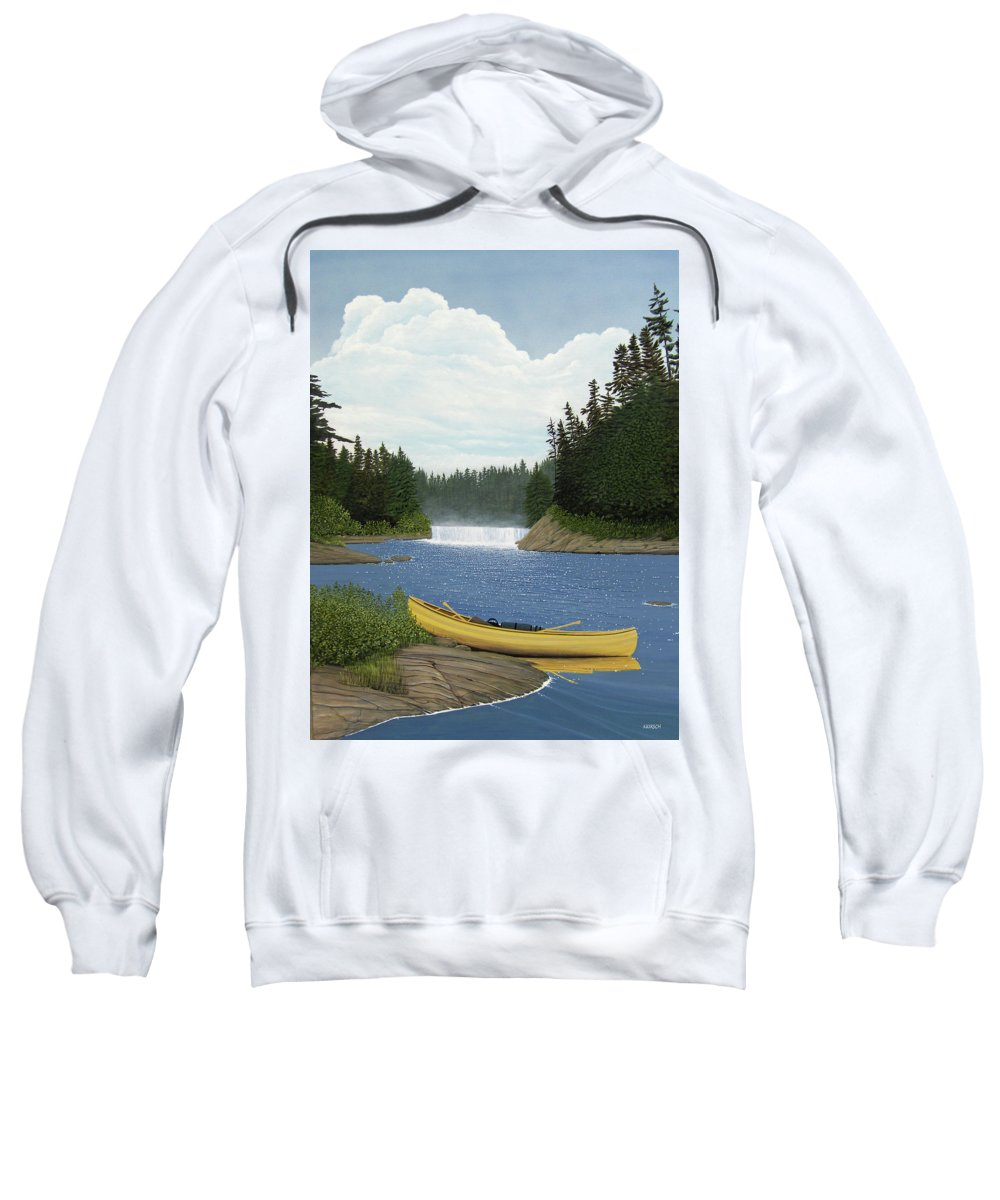 Landscapes Sweatshirt featuring the painting After The Rapids by Kenneth M Kirsch