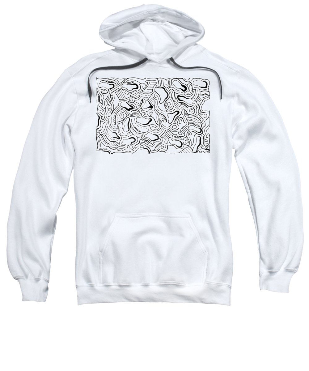 Mazes Sweatshirt featuring the drawing Against The Grain by Steven Natanson