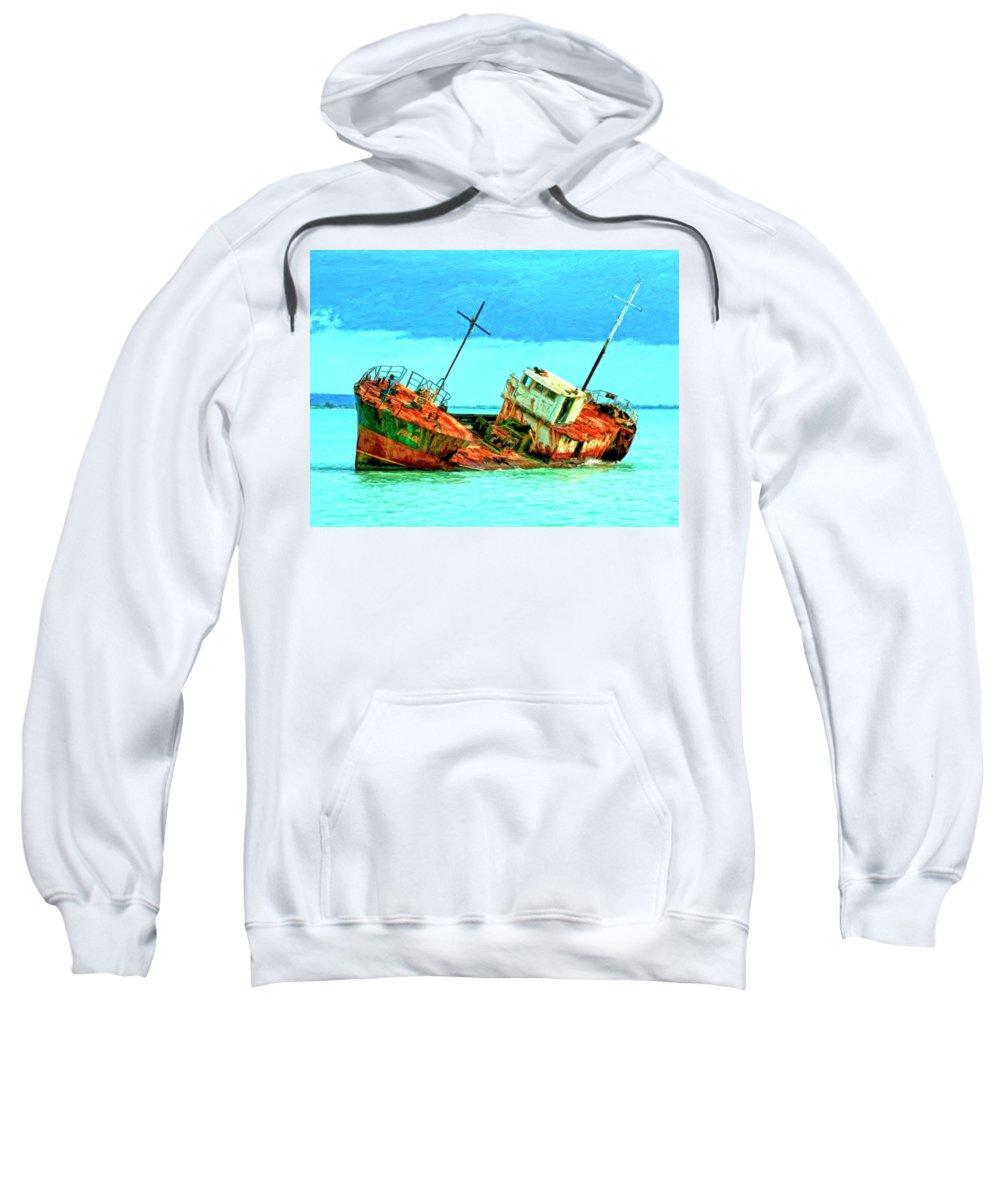 Aground Off Jamaica Sweatshirt featuring the painting Aground Off Jamaica by Dominic Piperata