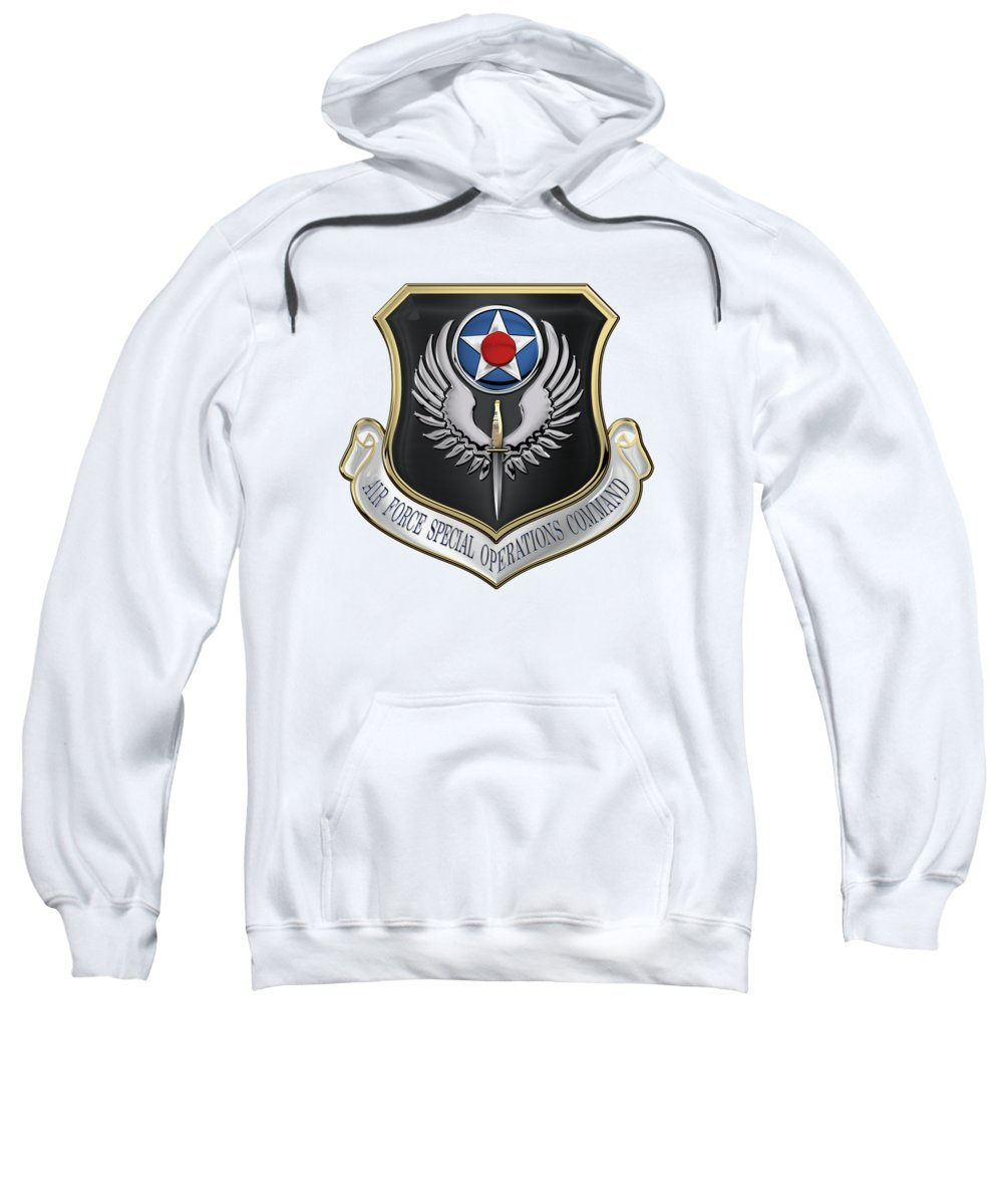 'military Insignia & Heraldry' Collection By Serge Averbukh Sweatshirt featuring the digital art Air Force Special Operations Command - A F S O C Shield Over White Leather by Serge Averbukh