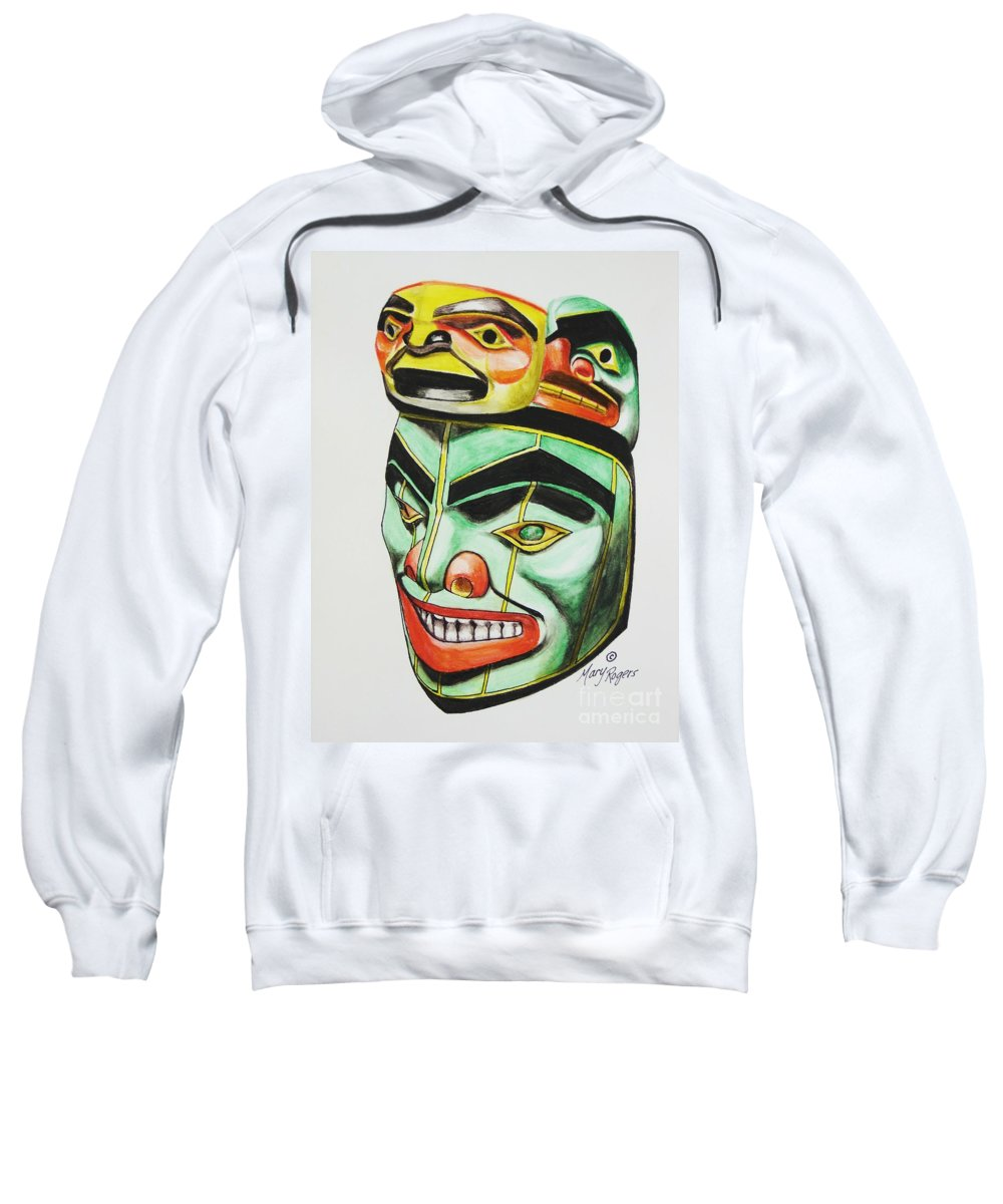 Alaska Sweatshirt featuring the mixed media Alaska Masks by Mary Rogers
