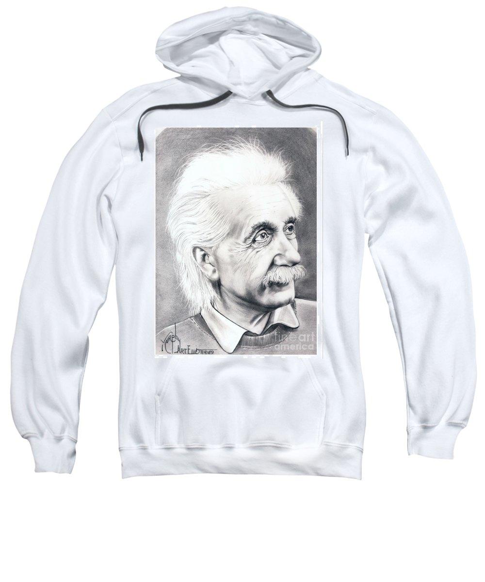 Portrait Sweatshirt featuring the drawing Albert Einstein by Murphy Elliott