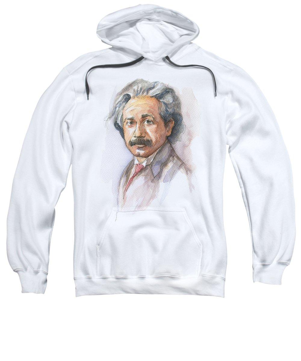 Albert Einstein Sweatshirt featuring the painting Albert Einstein by Olga Shvartsur