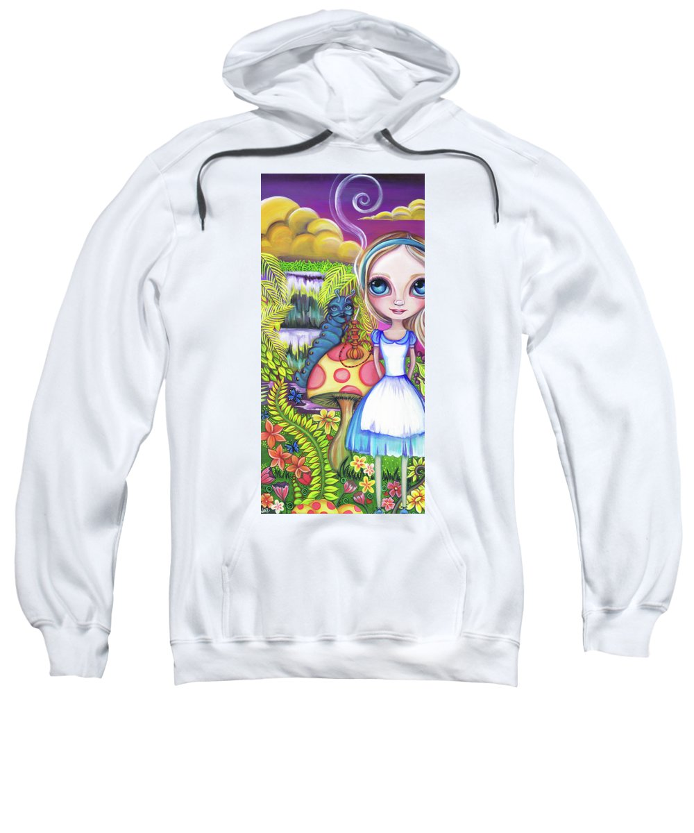Alice In Wonderland Sweatshirt featuring the painting Alice And Absolem by Jaz Higgins
