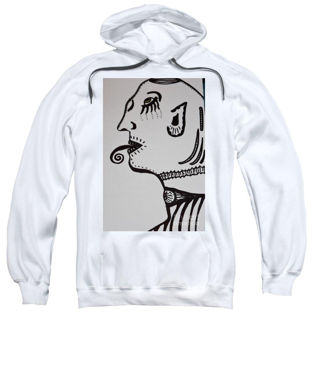 Alien Sweatshirt featuring the drawing Alien Lick by Lisa Kleiner