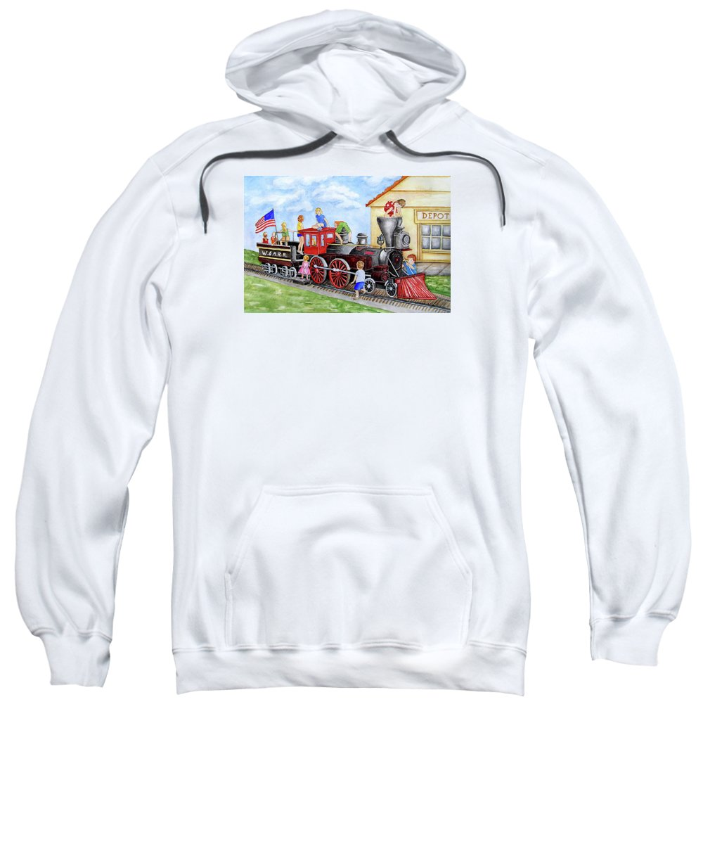 Children Sweatshirt featuring the painting All Aboard by Sally Storey Jones