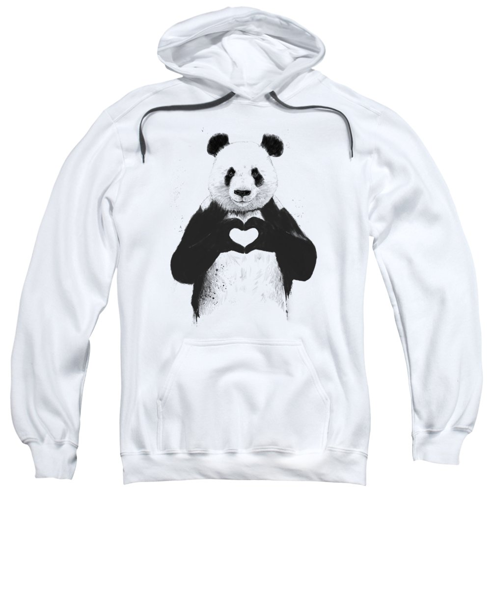 Panda Sweatshirt featuring the mixed media All you need is love by Balazs Solti
