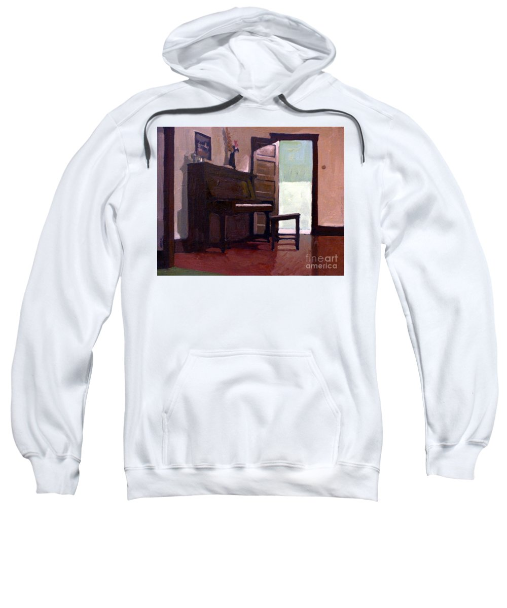 Piano Sweatshirt featuring the painting Allison's Piano by Donald Maier