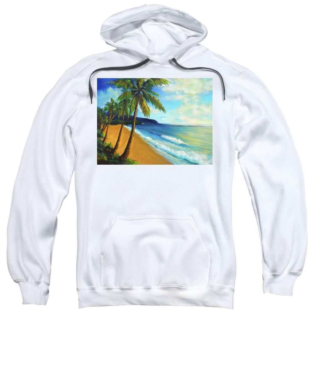 Beach Sweatshirt featuring the painting Aloha by Hanako Hawaii