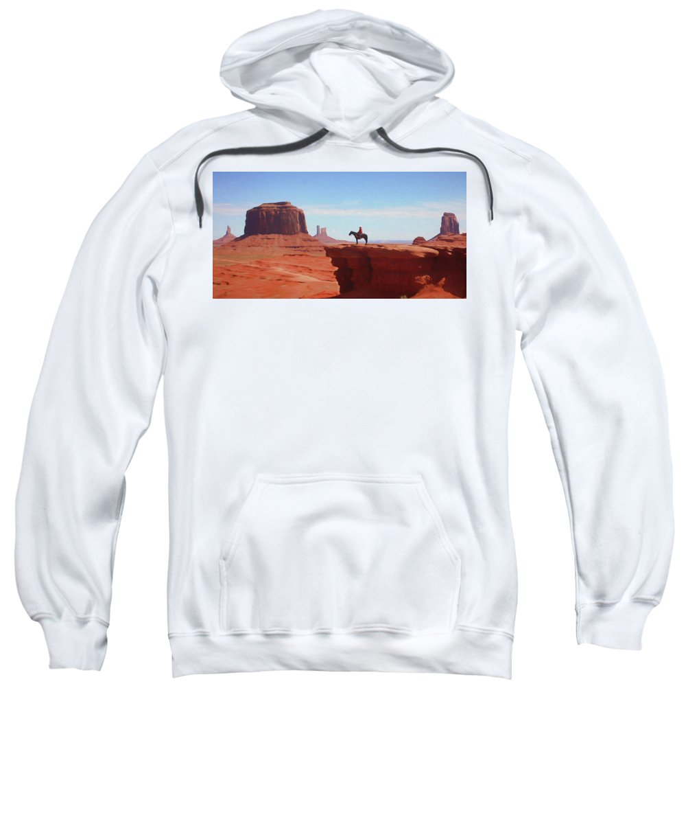 Cowboy Sweatshirt featuring the digital art Alone At The Top by Ronald Bolokofsky