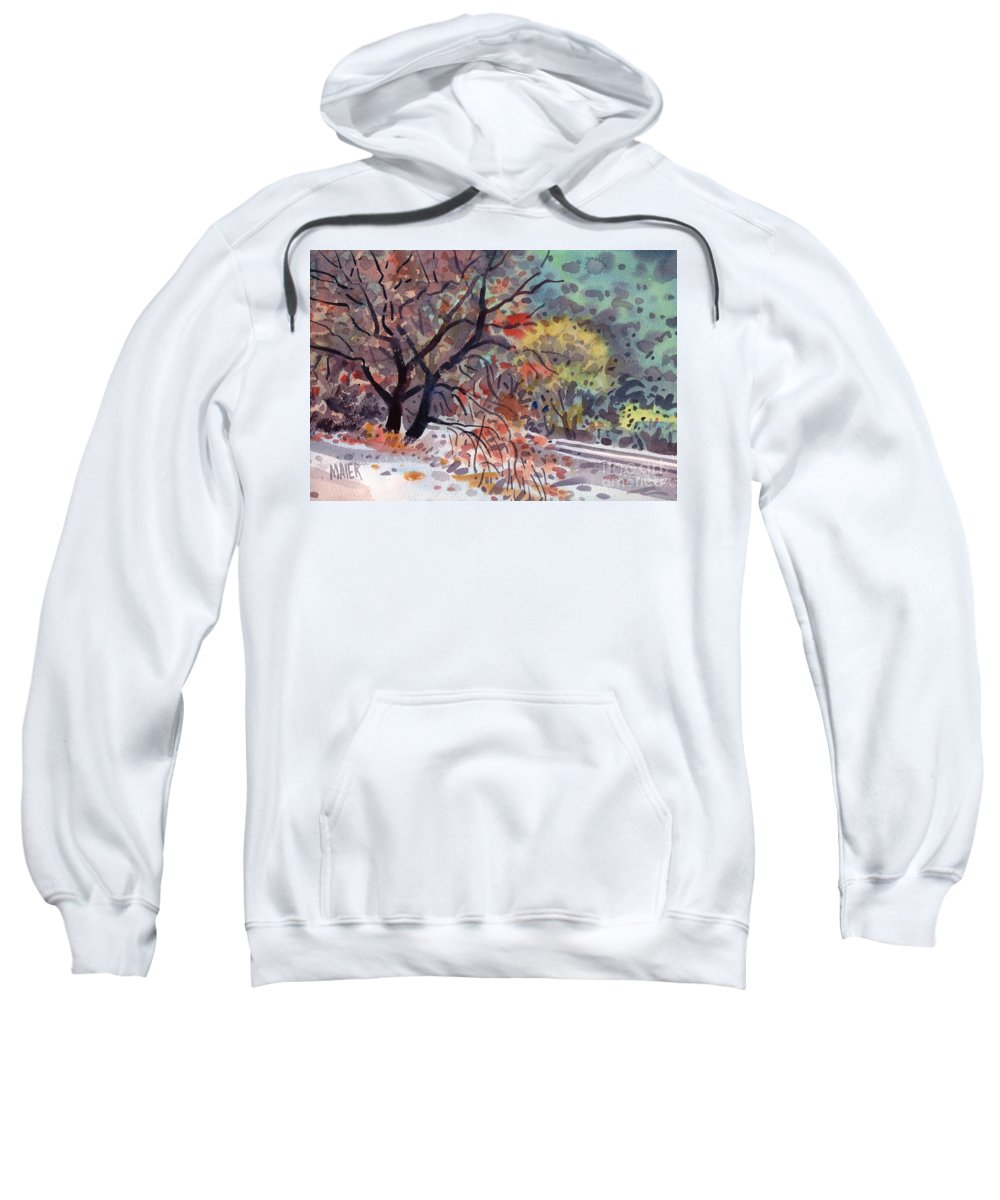 Oak Tree Sweatshirt featuring the painting Along The Tracks by Donald Maier