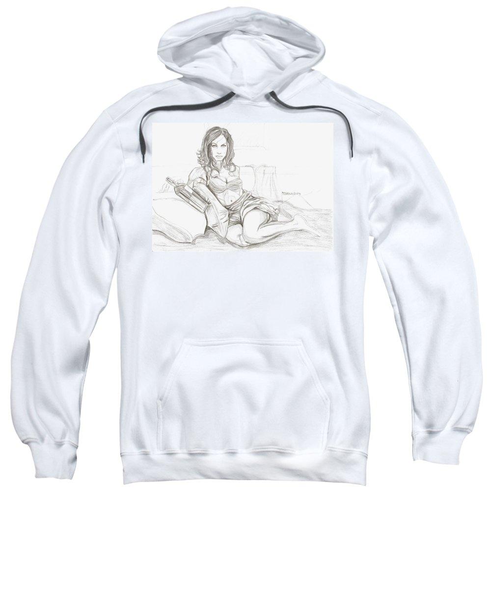 Latina Sweatshirt featuring the drawing America by Americo Salazar