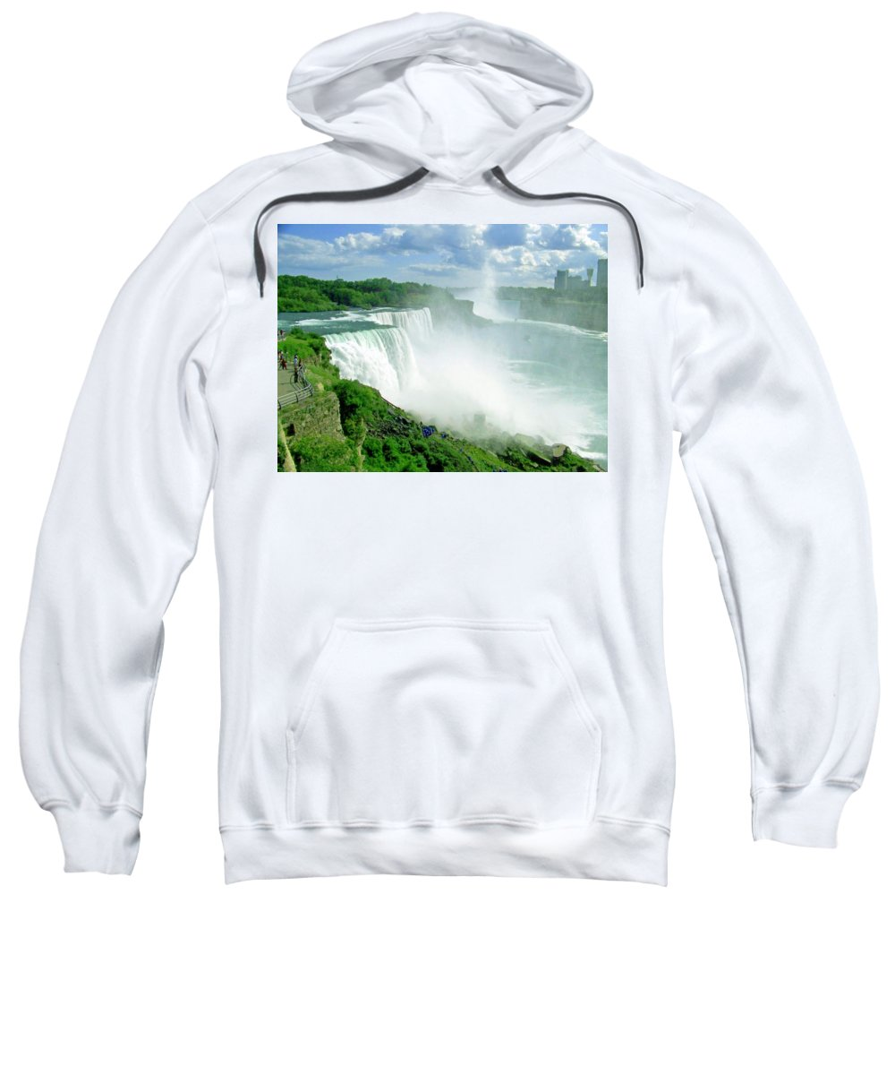 Waterfall Sweatshirt featuring the photograph American And Niagra Falls At Niagra by Laurie Paci