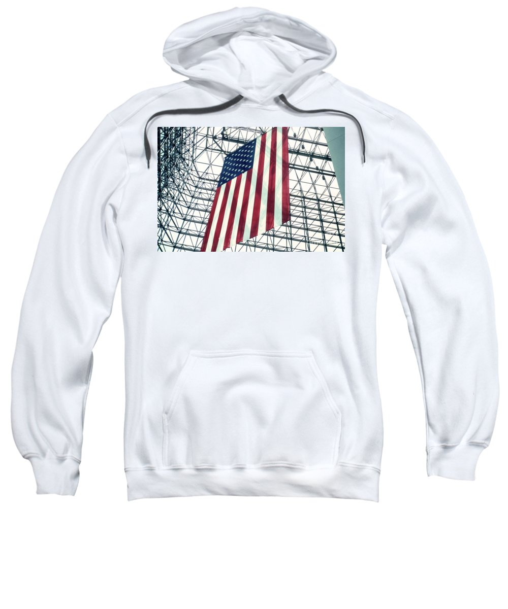 Flag Sweatshirt featuring the photograph American Flag In Kennedy Library Atrium - 1982 by Thomas Marchessault