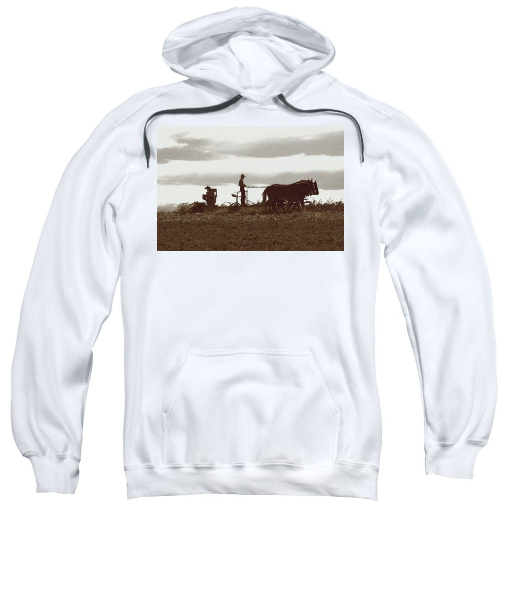 Amish Sweatshirt featuring the photograph Amish Farmer 2 by Lou Ford