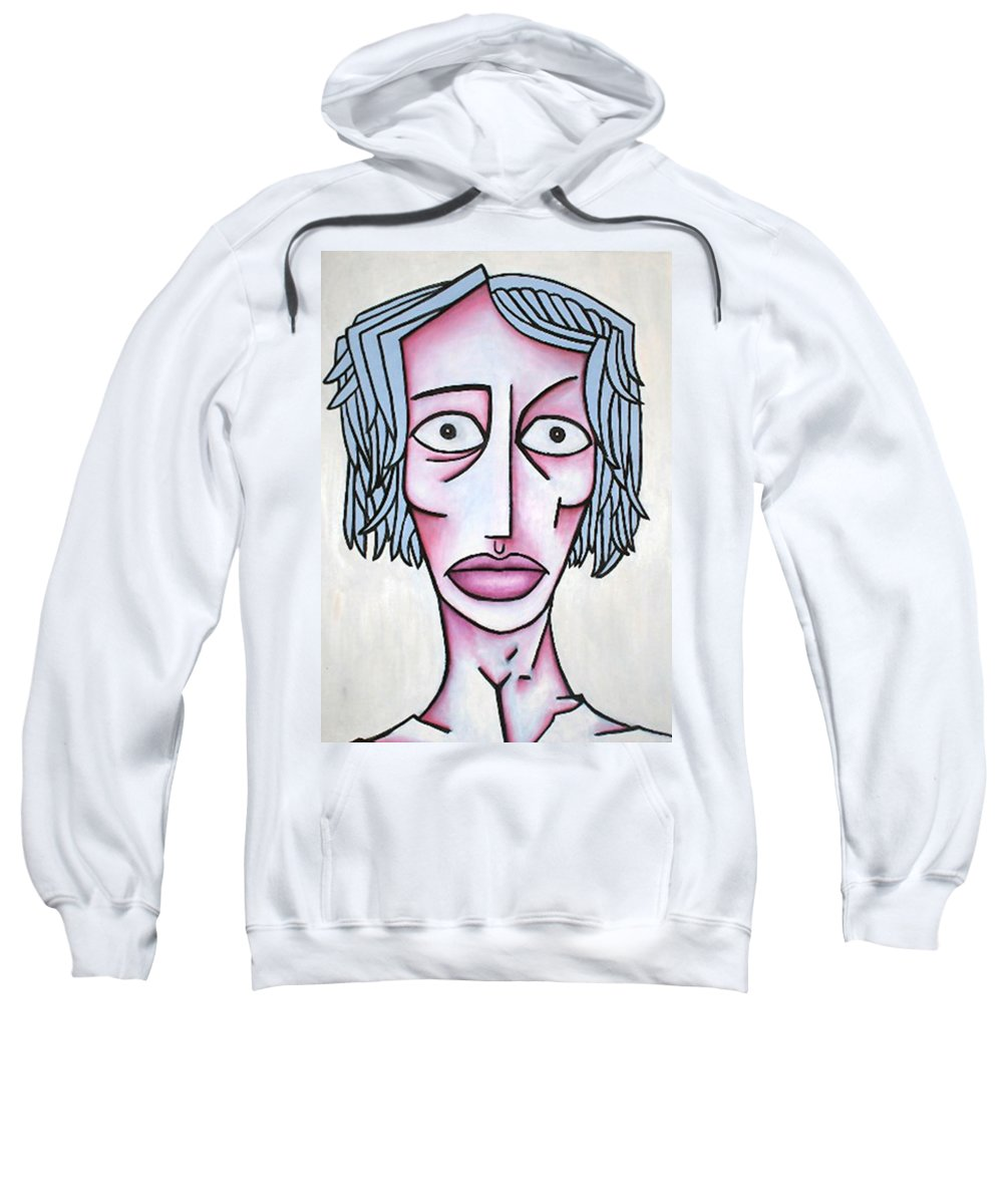 Potrait Sweatshirt featuring the painting amy by Thomas Valentine
