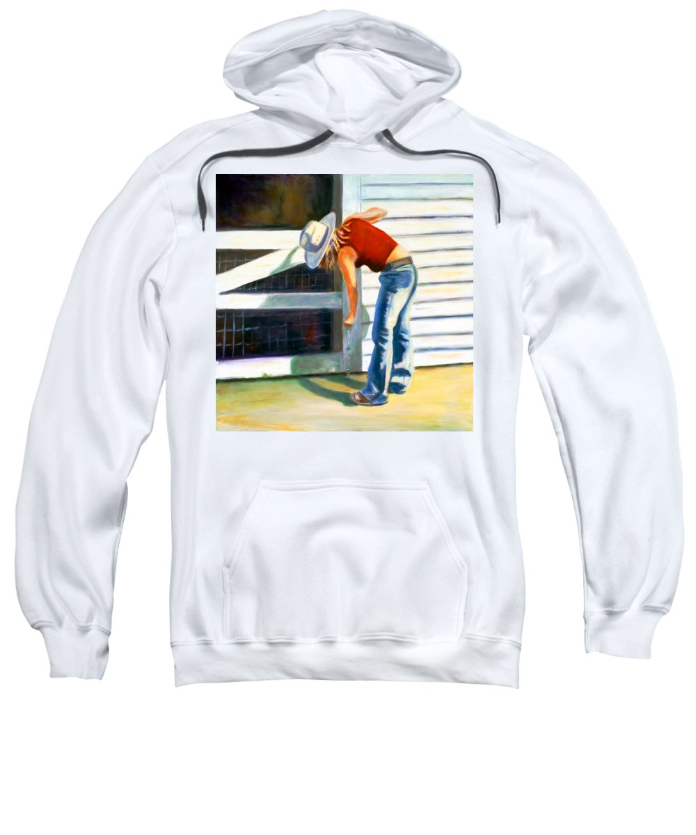 Red Sweatshirt featuring the painting An American Girl by Shannon Grissom