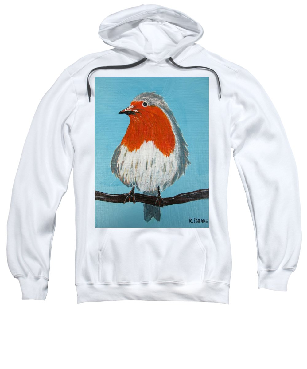 Robin Sweatshirt featuring the painting An English Robin by Richard Drake