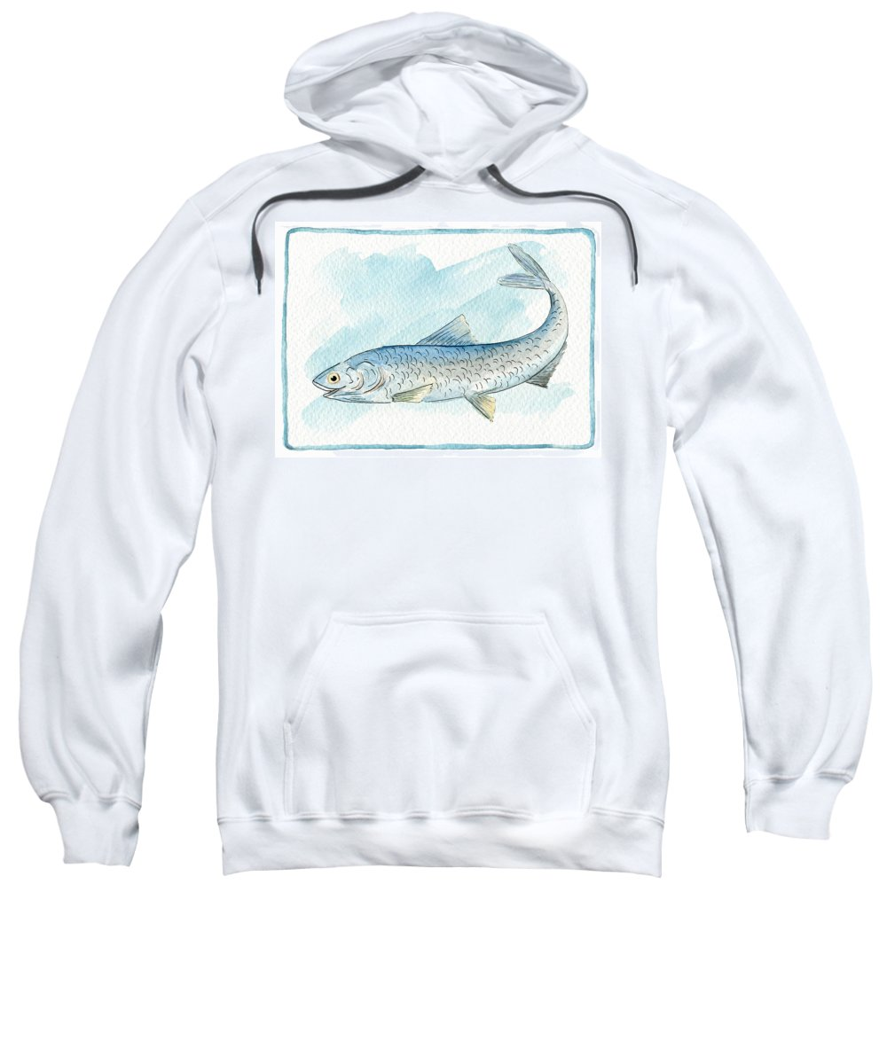 Fish Sweatshirt featuring the painting Anchovy by Ruth Gonzalez