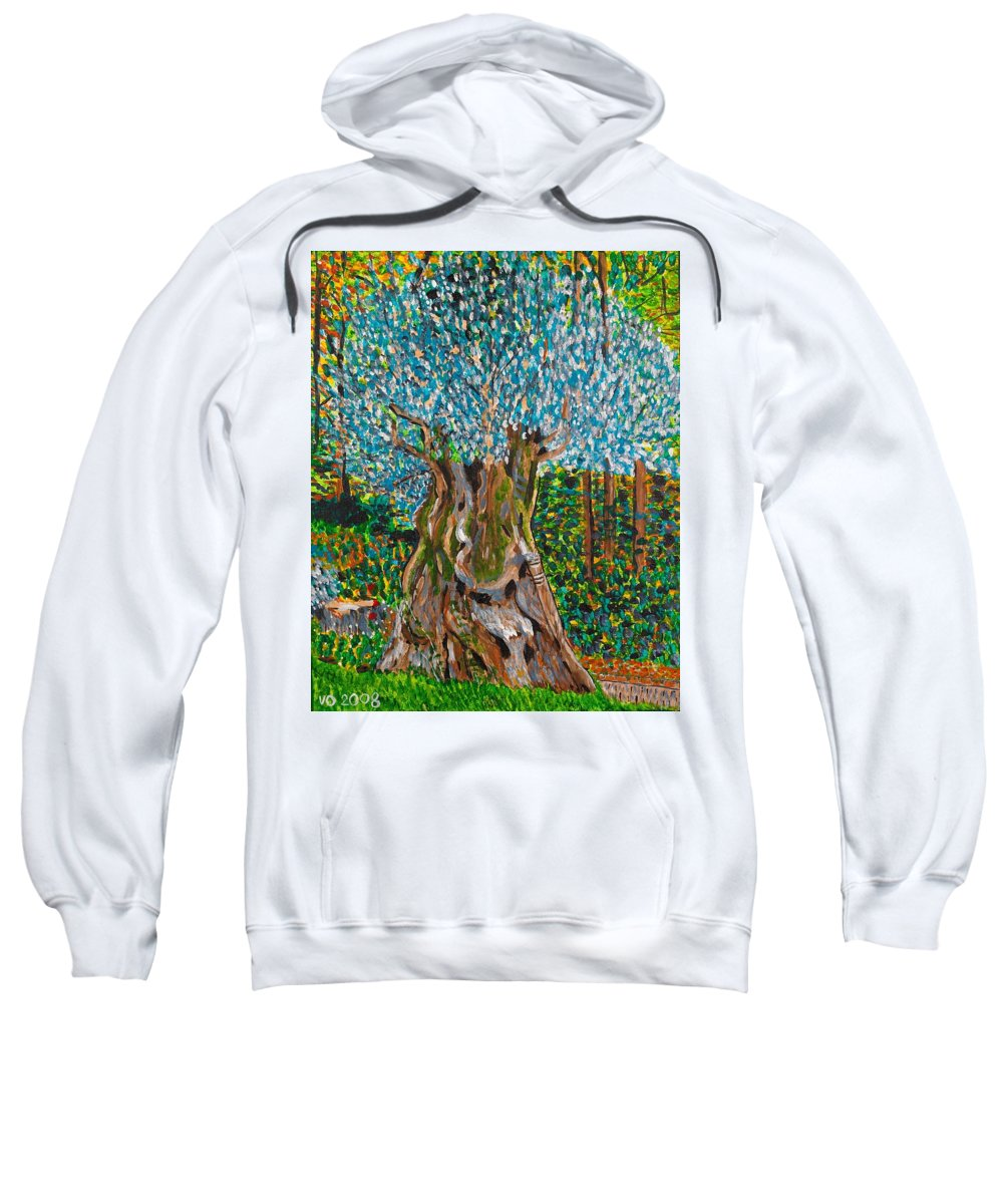 Olive Sweatshirt featuring the painting Ancient Olive Tree by Valerie Ornstein