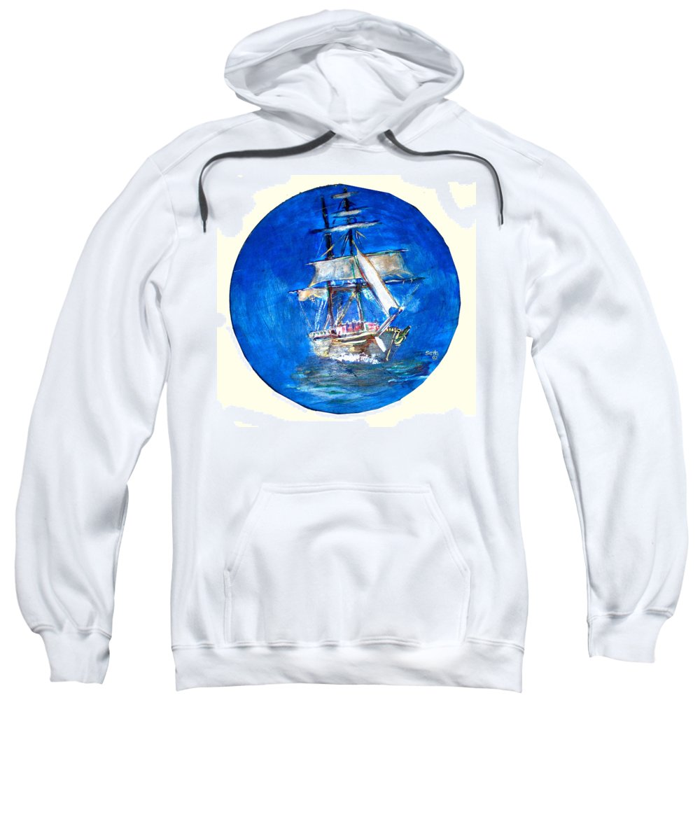 Acrylic On Wood Sweatshirt featuring the painting Ancient Vessel by Seth Weaver