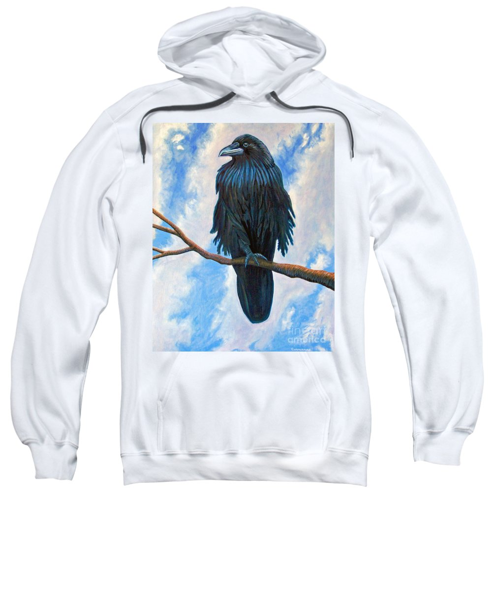 Raven Sweatshirt featuring the painting And All That I See by Brian Commerford