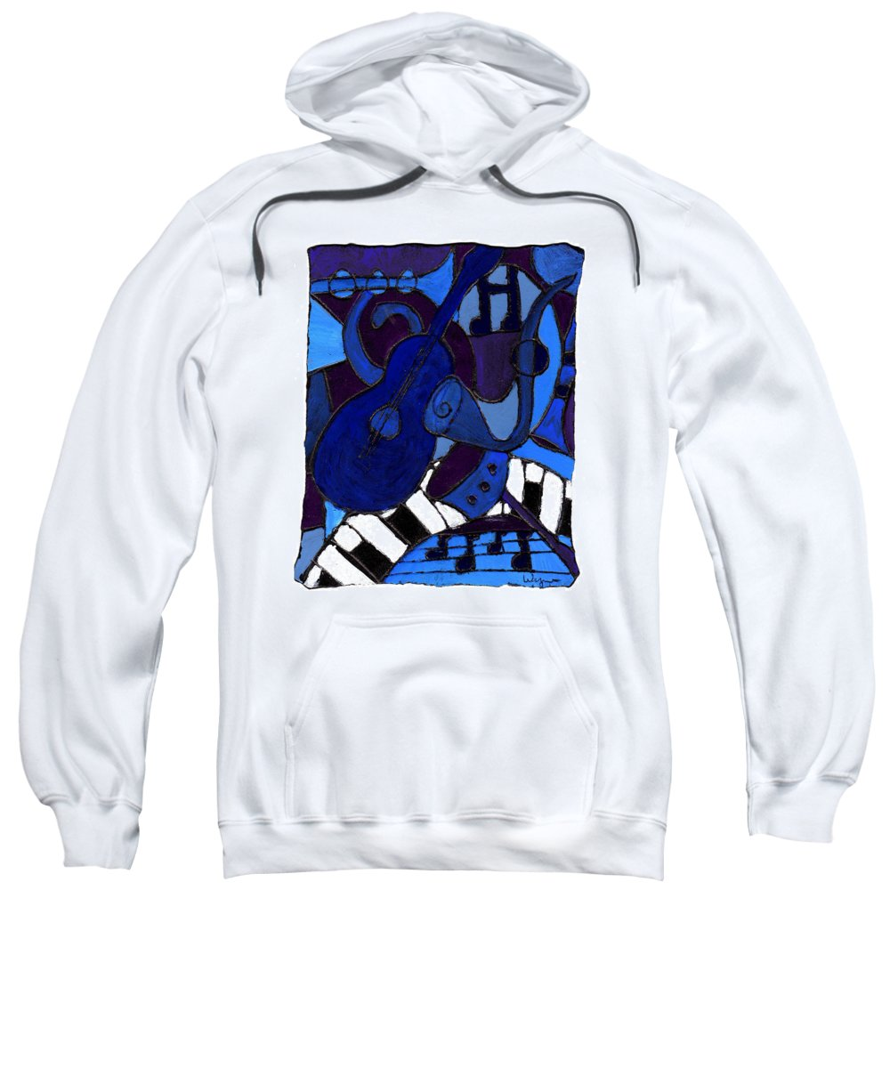 Blues Sweatshirt featuring the painting and All that Jazz one by Wayne Potrafka