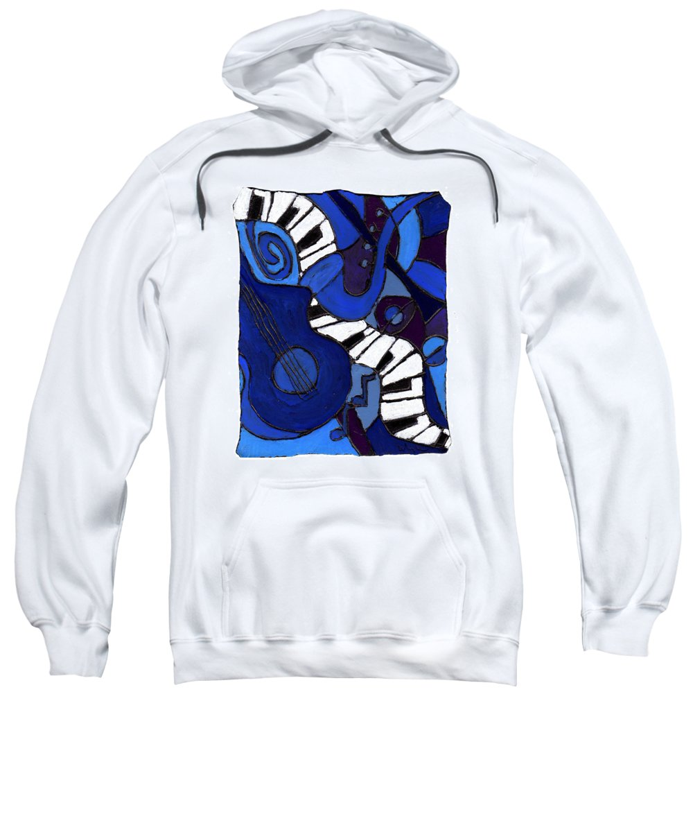 Jazz Sweatshirt featuring the painting and All That Jazz two by Wayne Potrafka