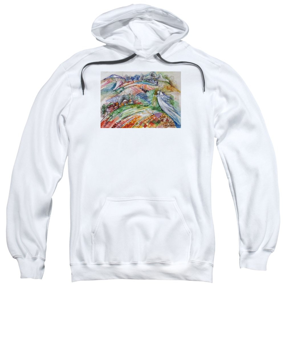 Illustration Sweatshirt featuring the painting Angel From Jacob's Ladder by Rita Fetisov