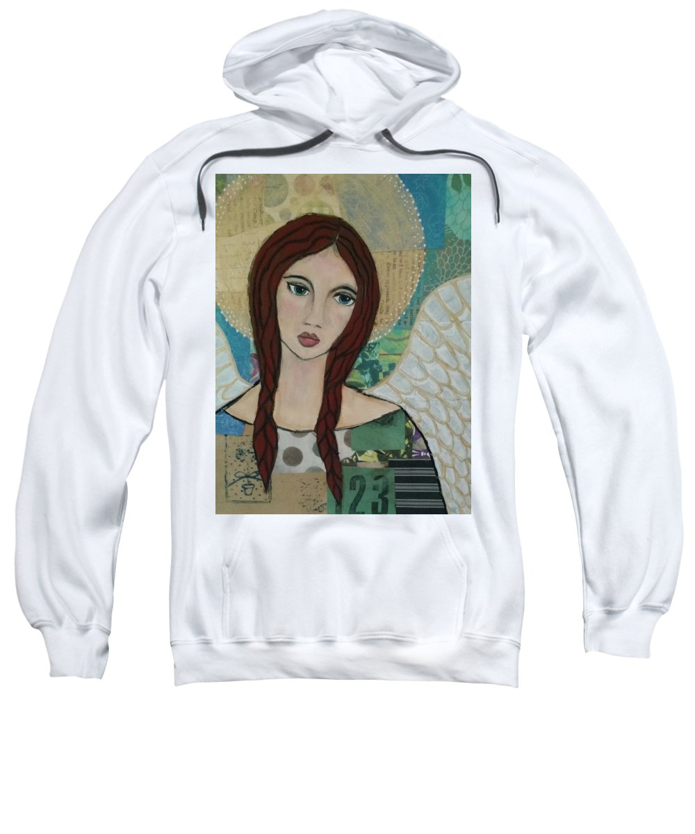 Angel Sweatshirt featuring the painting Angel Love by Dawn Gettig