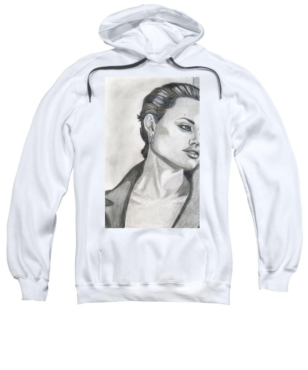 Pencil Sweatshirt featuring the drawing Angelina Jolie by Alban Dizdari