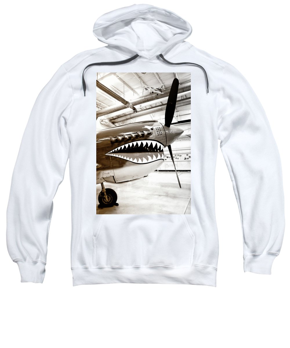 Ps Air Museum Sweatshirt featuring the photograph Anger Management Bw Palm Springs Air Museum by William Dey