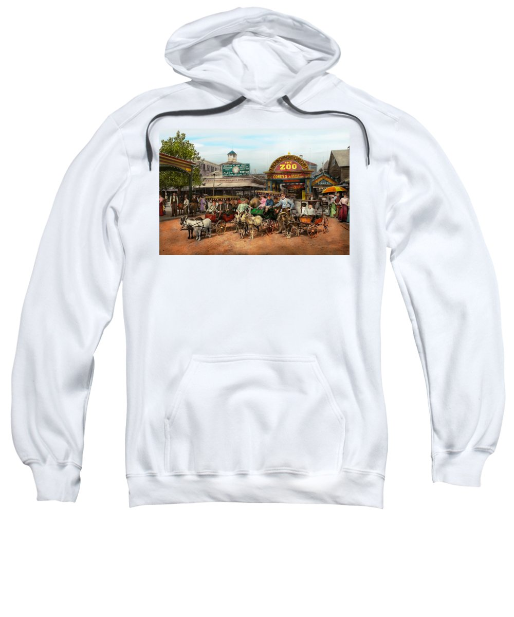 Self Sweatshirt featuring the photograph Animal - Goats - Coney Island Ny - Kid Rides 1904 by Mike Savad