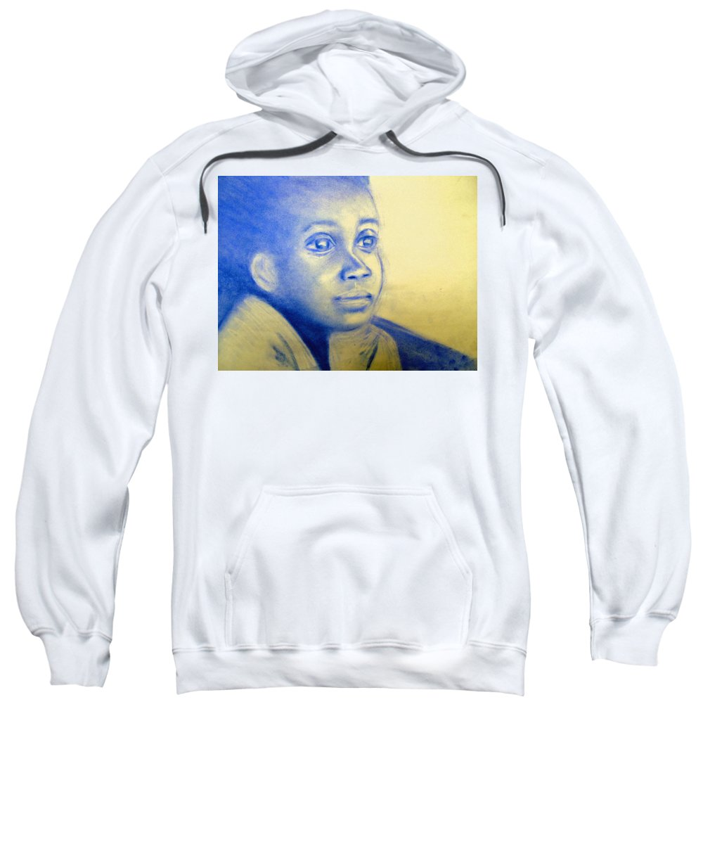 Sweatshirt featuring the drawing Anticipation by Jan Gilmore