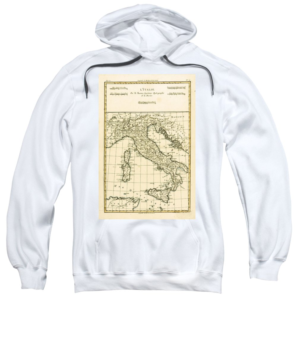 Maps Sweatshirt featuring the drawing Antique Map Of Italy by Guillaume Raynal