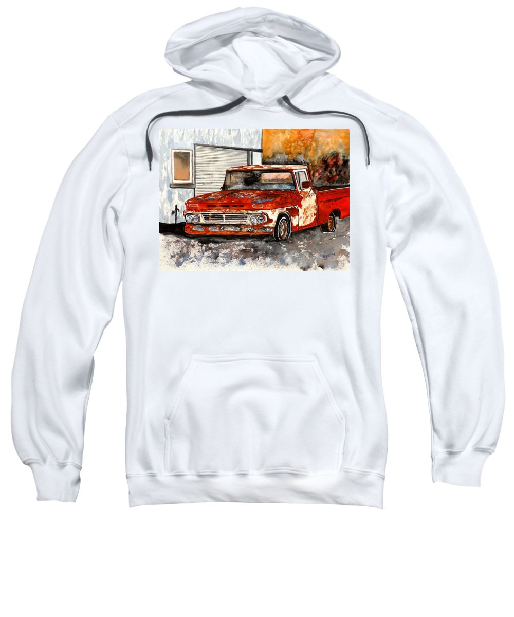 Transportation Sweatshirt featuring the painting Antique Old Truck Painting by Derek Mccrea
