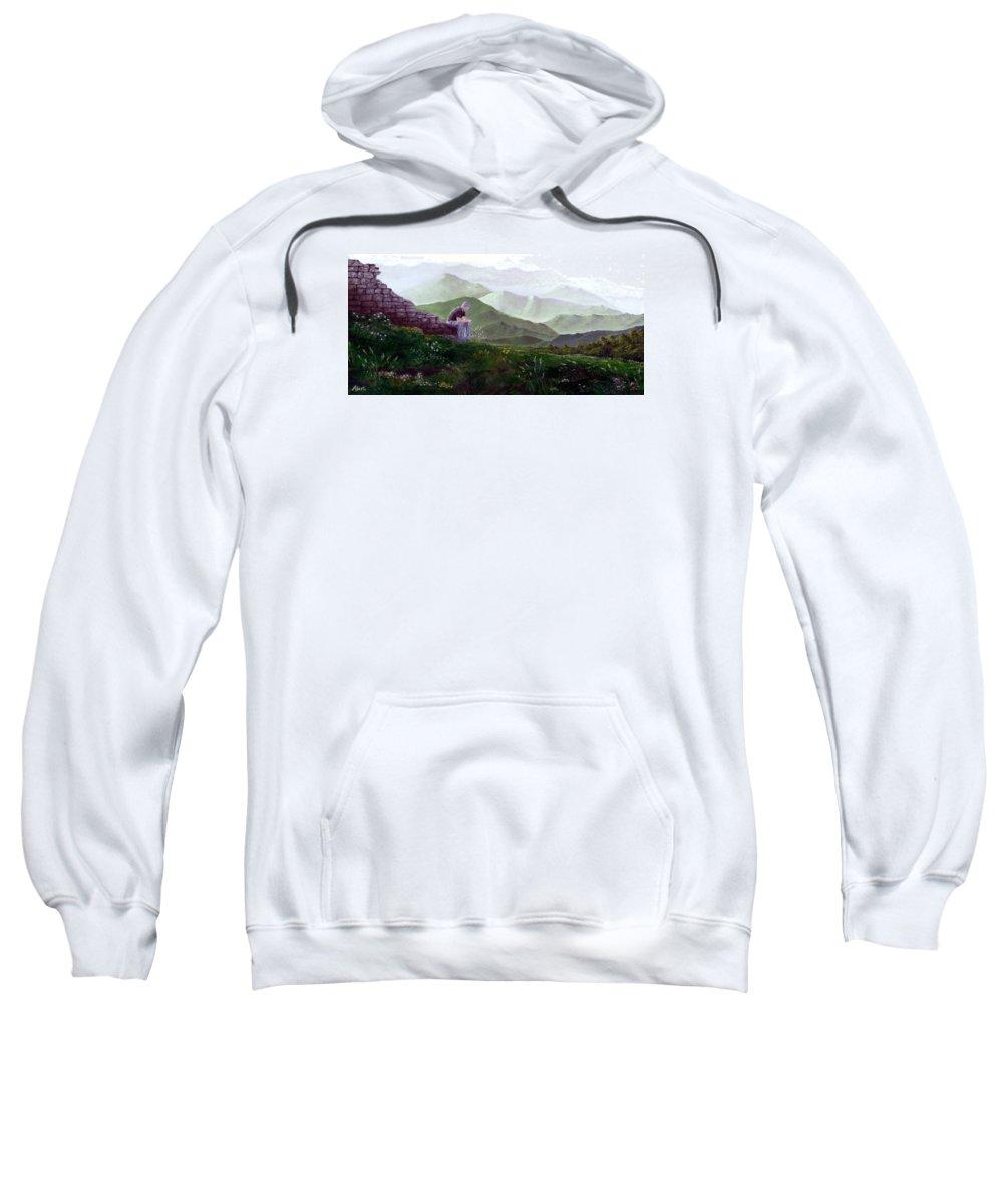 Italy Sweatshirt featuring the painting Antonio Atop La Rocca De Monte Calvo by Albert Puskaric