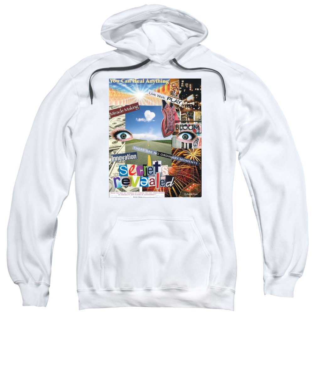 Collage Art Sweatshirt featuring the mixed media Anything Goes by Susan Schanerman