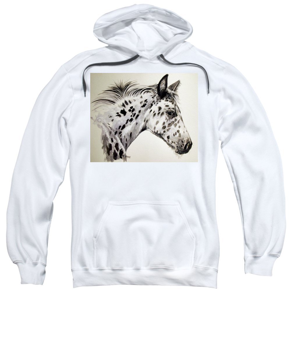 Appaloosa Horse Sweatshirt featuring the painting Appaloosa by Keran Sunaski Gilmore