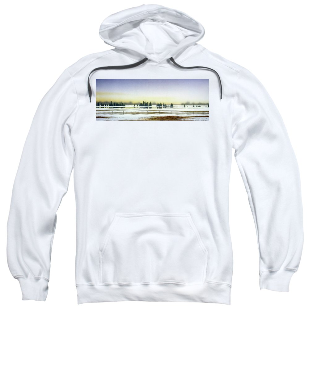 Rural Landscape Sweatshirt featuring the painting April Evening by Conrad Mieschke