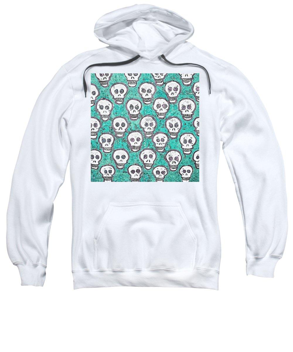 Skull Sweatshirt featuring the photograph Aqua Skull Pattern by Modern Art