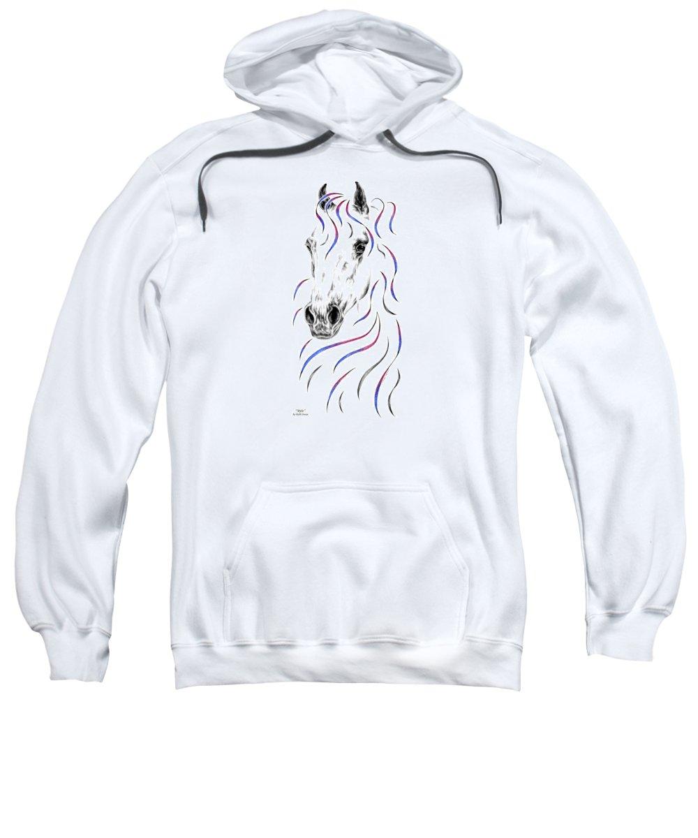 Arabian Sweatshirt featuring the drawing Arabian Horse Style by Kelli Swan